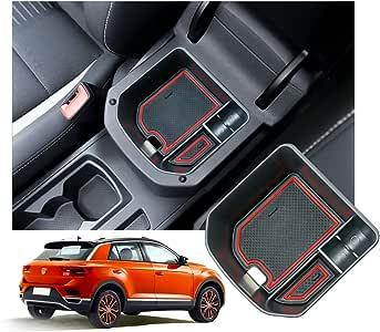 rosso vano portaoggetti Console Storage Box inserto vassoio RUIYA Central Console Box Scatola del Bracciolo per 2018 2019 T-ROC Organizer per auto