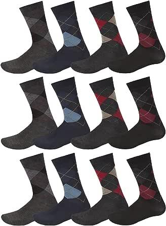 12 Pairs Mens Designer Patterned Cotton Formal Dress Socks Size UK 6-11 EUR 39-45