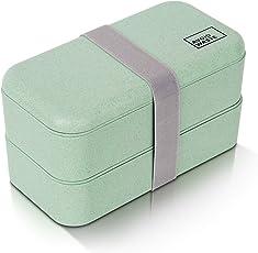 avoid waste Nachhaltige Lunchbox ♻ Die Premium Aufbewahrungsbox mit Deckel und Besteck im Bento-Box Stil mit Zwei Fächern. Biologisch abbaubar, plastikfrei, BPA frei, auslaufsicher