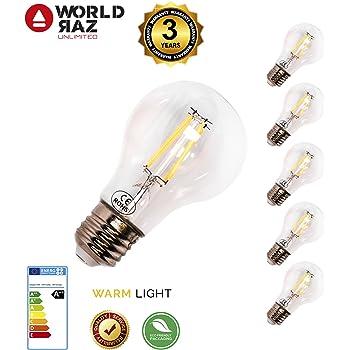 Bombillas led E27 vintage filamento, bombilla bajo consumo luz cálida WORLD RAZ. Luces 4W