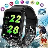 Montre Connectée, Bracelet Connecté Smartwatch Montre Podomètre Cardiofrequencemetre Montre Sport IP67 Etanche Fitness Tracker d'activité Tensiomètre Sommeil pour Homme Femmes Android Phone X XR 8 7