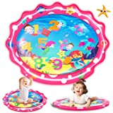 """SEETOYS Tummy Time Baby Mermaid Water Mat, Infant Toy Largest 30"""" by 24.4"""", Inflatable Baby Play Activity Center for Boy&Girl"""