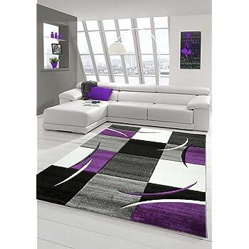 Designer Teppich Moderner Teppich Wohnzimmer Teppich Kurzflor Teppich Mit  Konturenschnitt Karo Muster Lila Grau Creme Schwarz