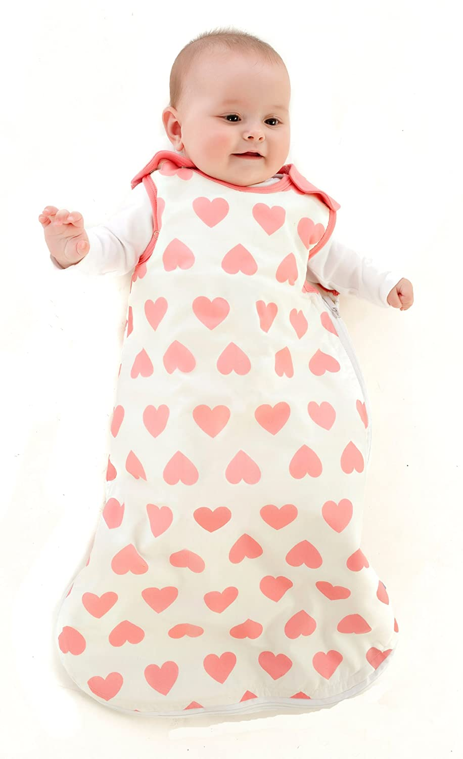 Mama Designs Babasac Multi Tog Baby Sleeping Bag In Off White With Pink HeartDesign For 6 To 18 Months 10 And 25 Included Amazoncouk