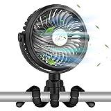 VASG Ventilateur Poussette, Mini Ventilateurs Silencieux Ventilateur USB Portable à Pince avec 12 Lumières LED, 3 Vitesses 36