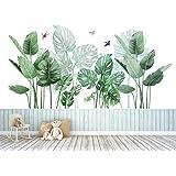 Groene tropische bladeren muursticker, palmblad planten muursticker, Nordic Tropische Planten Schildpad Bladeren Muurstickers