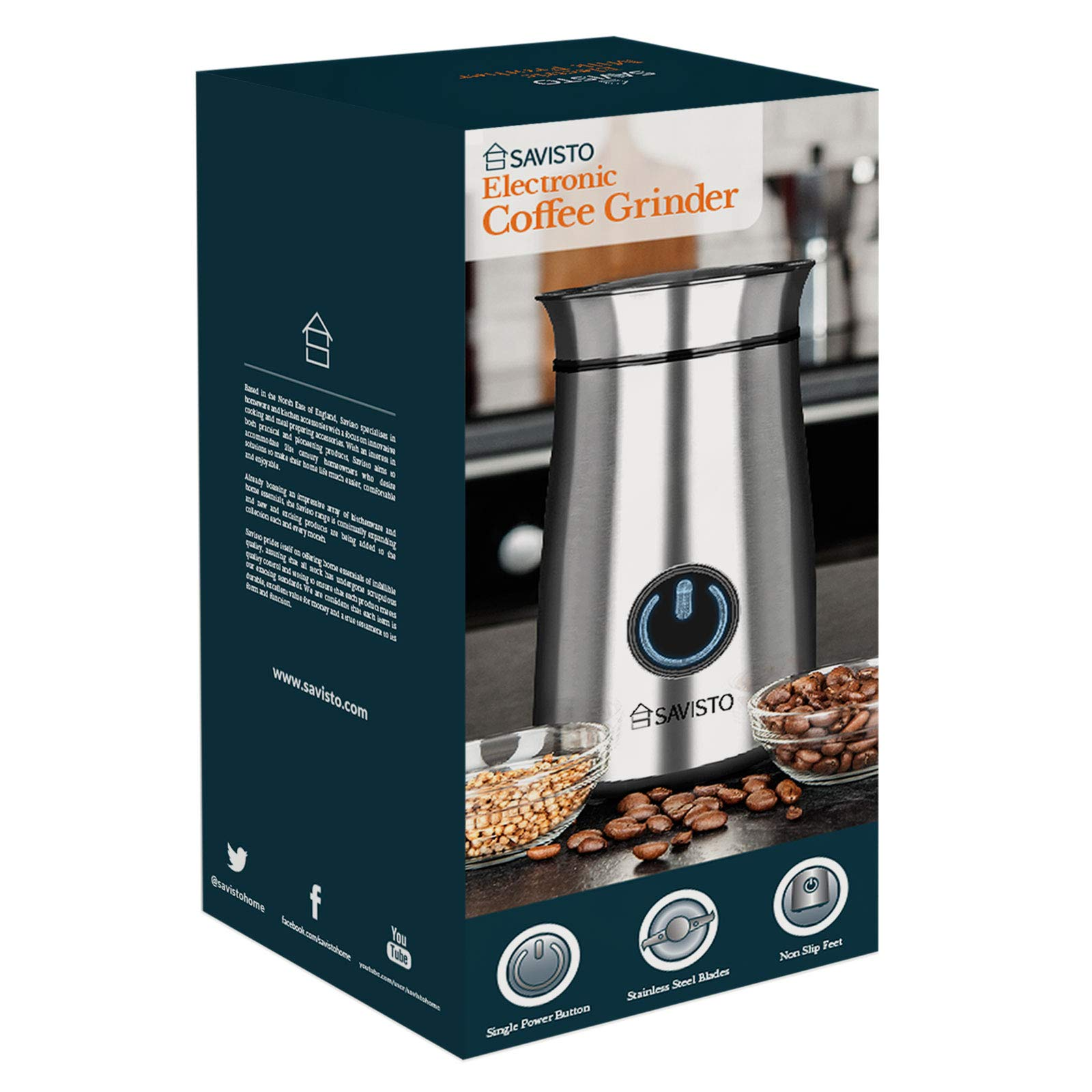 Savisto-150W-High-Powered-Coffee-Grinder-Professional-Multi-Use-Coffee-Bean-Spice-Nut-Grinder-with-Dual-Steel-Blades-70g-Capacity-Brushed-Stainless-Steel
