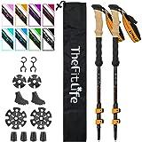 TheFitLife kolfiber vandringsstänger - hopfällbara och teleskopiska promenadstänger, 2-pack, ultralätt, utdragbara, bästa pro