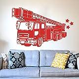 Camion De Pompier Pompier Autocollant Mural Salle De Jeux Chambre Firetruck Voiture De Voiture Sticker Véhicule Salon Vinyle