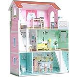 Milliard Dockhus i trä, stort dockhus i tre nivåer för barn - inkluderar 20 möbeldelar