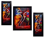 INDIANARA 3 PC Set of Ganesha Paintings (1088) Without Glass 5.2 X 12.5, 9.5 X 12.5, 5.2 X 12.5 inch
