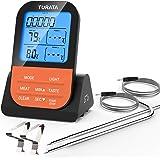 TURATA Vleesthermometer draadloze braadthermometer met tijdmeter, 2 temperatuursensoren sondes, magnetische achterwand, achte