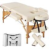 TecTake Table Lit de Massage Pliante Portable épaisseur de coussin 7,5cm + Rouleau + Demi-rouleau - diverses couleurs au choix - (Beige | No. 400420)