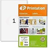 Printation 4458 3418 3478 Lot de 100 étiquettes autocollantes blanches imprimables 200 x 297 mm (DIN A4) pour 100…