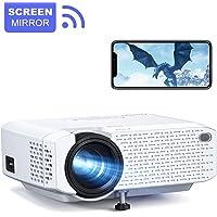 Videoprojecteur, Crosstour WiFi Portable RétroprojecteurTelephone Miroir d'écran 1080P Full HD Supporté Multimédia Home Cinéma LED Mini Projecteur Compatible avec TV Box/PS4/Telephones/Chromecast