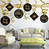 Festiko 30th 40th 50th 60th Birthday Decoration/ Age Birthday Swirls Hanging Decoration/Birthday Decoration for Adults (60th