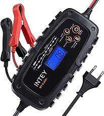 INTEY Batterieladegerät 8.0 Vollautomatisches Batterieladegerät Autobatterie Ladegerät für Motorrad und KFZ, Batterien-Winter Batterieschutz 6/12 V (0.8A 2A 4A)