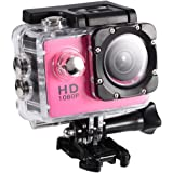 Tosuny Cámara de acción DV Cámara Impermeable al Aire Libre, Mini DV cámara de Videocámaras de acción Soporte USB TF Tarjeta(