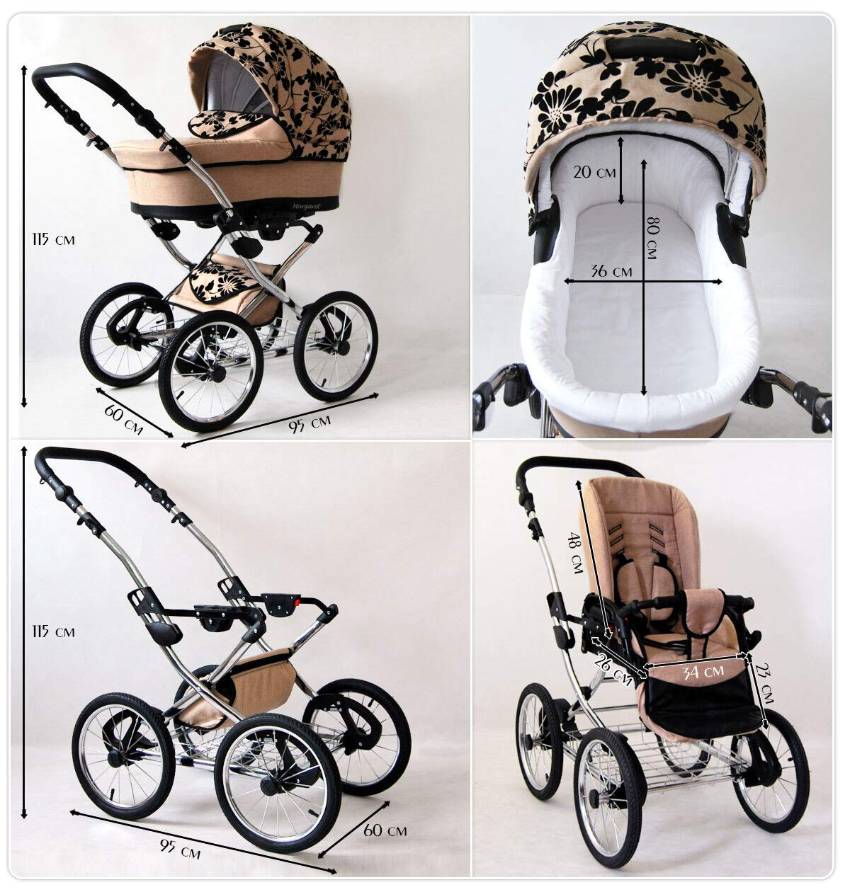 Travel System Retro Stroller Pram 2in1 3in1 Set Isofix Nostalgica by SaintBaby Navy Blue Star 2in1 Without Baby seat SaintBaby 3in1 or 2in1 Selectable. At 3in1 you will also receive the car seat (baby seat). Of course you get the baby tub (classic pram) as well as the buggy attachment (sports seat) no matter if 2in1 or 3in1. The car naturally complies with the EU safety standard EN1888. During production and before shipment, each wagon is carefully inspected so that you can be sure you have one of the best wagons. Saintbaby stands for all-in-one carefree packages, so you will also receive a diaper bag in the same colour as the car as well as rain and insect protection free of charge. With all the colours of this pram you will find the pram of your dreams. 8