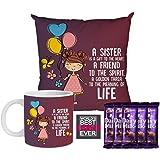 YaYa Cafe Birthday Bhaidooj Gift Combo for Sister is a Gift to Heart Friend for Life Mug , Cushion Cover, 5 Cadbury Dairy Mil