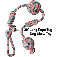 MS Petcare Cotton Rope Dog Chew Tug Toy for Medium to Adult Dogs with 4 Knots and 2 Ball - 30 Inch Long (Color May Vary)