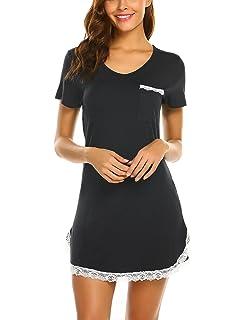 d5ed4fa560ef28 MAXMODA Nachthemd Damen Nachtwäsche Baumwolle Sleepshirt Kurzarm Sexy  Schlafshirt Nachtkleid S-XXL