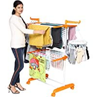 Happer Premium 2 Layer Cloth Drying Stand with Breaking Wheels, Compact Jumbo (Orange)