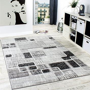 Designerteppich Wohnzimmer Teppich Retro Stil Shabby Chic Grau ...