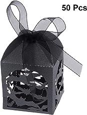 BESTOYARD Halloween Fledermaus Boxen Süßigkeitskästen Hohl Gestanzte Bevorzugungskästen Hochzeit Süßigkeitskästen Halloween Geschenkboxen 50 STÜCKE (Schwarz)