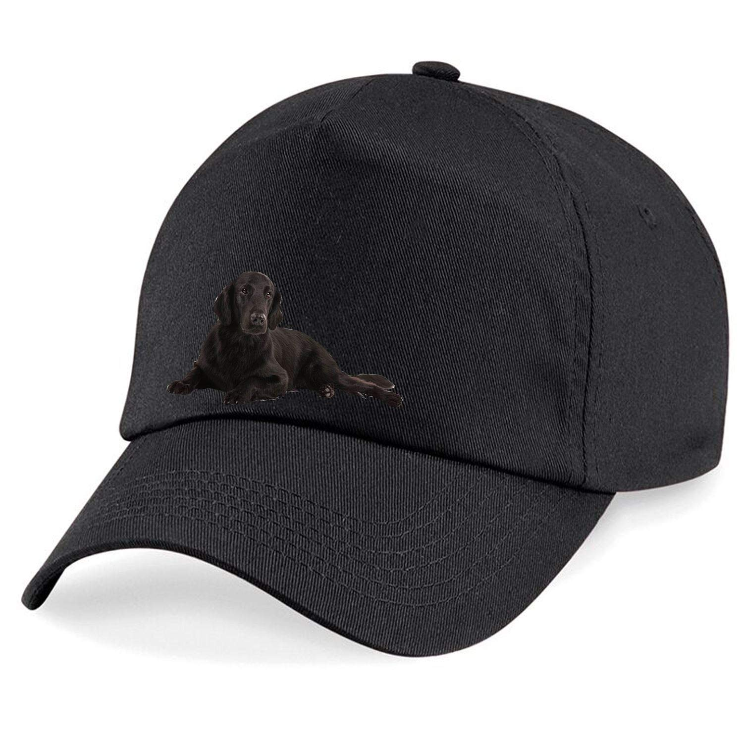 Taurus Clothing Flat-Coated Retriever Dog Personalised Embroidered Cap Black