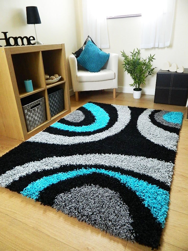small extra large rug new modern soft thick black silver grey teal blue shaggy rug non shed shag runners 6 sizes available 66 x 230 cm runner