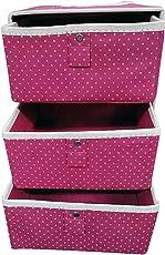 Krevia Foldable Fabric Storage Box Organizer, 3 Drawer, Multi Color (1 pc)