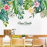 Plantas tropicales pegatinas de pared flor pegatina de pared hoja de palma calcomanías de pared decoración de pared dormitori