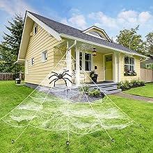 Kohmui Halloween Spinnennetz Deko, Spinngewebe Dekoration Set mit Riese Spinnewebe, Groß Spinne, Baumwolle Spinnwebe, Klein Spinnen für Draussen, Garten, Hof