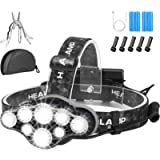 Head Torch,Super Bright Headlight,18000 Lumens 8 LED 8 Modes Headlamp,Rechargeable Waterproof with Red Flash Light Head…