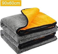 MATCC Microfasertücher Trockentücher Poliertücher zur professionellen Autopflege ultraweich für Perfekte Auto Lackpflege mit unfassbarer Aufnahmekapazität Seidenkante - Grau orange 90 * 60 cm