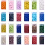 PandaHall 24 kleuren 2 mm glasparels, 12/0 kleine ronde glaskralen sieradenset met afneembare organizer box voor het maken va