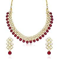 Sukkhi Exotic Kundan Gold Plated Wedding Jewellery Choker Necklace Set for Women (N73524)