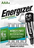 Energizer Batterie Ricaricabili AAA, Recharge Extreme, Confezione da 4