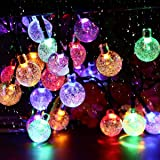 Solar Garden Lights, 50 LED 24Ft Outdoor String Lights Multi-Coloured Waterproof Crystal Ball Fairy Lights, Decorative Lighti
