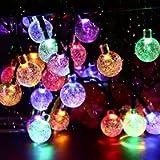 Solar Garden Lights, 50 LED 24Ft Outdoor String Lights Multi-Coloured Waterproof Crystal Ball Fairy Lights, Decorative…