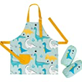 Bebamour Kids Apron Set with Oversleeves Personalised Kids Aprons for Cooking, Painting Waterproof Printed Kids Aprons for Bo