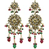 Exotic India Faux-Ruby And Emerald Kundan Earrings - Copper Alloy