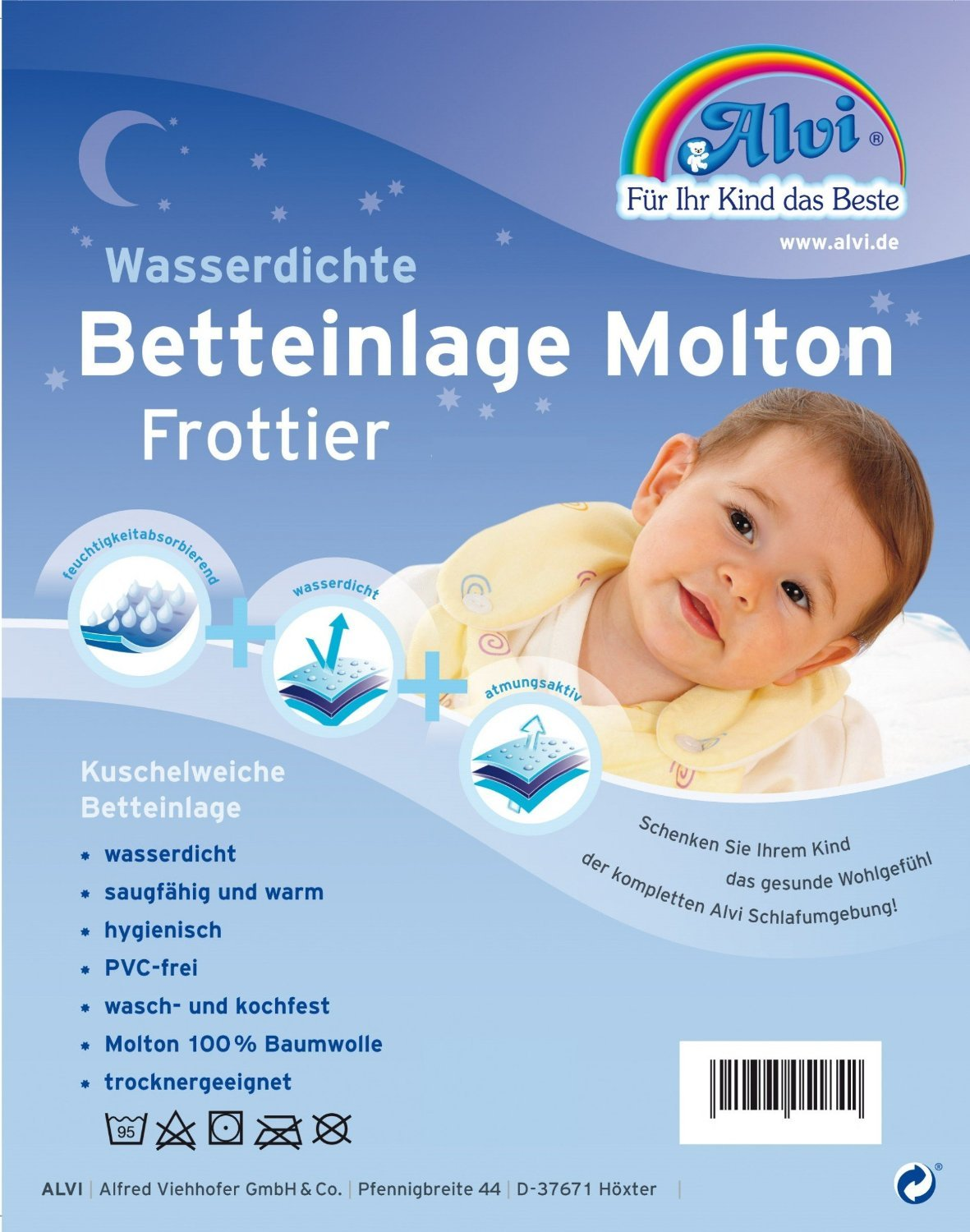 ALVI Waterproof Mattress Pad Molton/Frottee 50x70