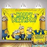NSY - Sfondo con tema Minions dei cartoni animati giallo Animazione Minions Fotografia fondale Baby Shower Compleanno Decoraz