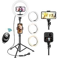UPhitnis 10 Zoll Selfie Ringlicht mit 63 Zoll Stativ mit 3 Farbe und 10 Helligkeitsstufen für Make…