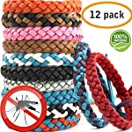 Mosquito Bnads Mosquito Repellent Bracelet 12 Pack Reusable Leather Adjustable Long Time Mosquito Repellent Natural...