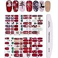 8 vellen Nagelstickers voor Kerstmis Volledige Wraps Zelfklevende Met 1 stuks Nagelvijl, Kalolary Kerst DIY Nail Art Stencil