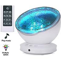 Lampe Projecteur LED, Veilleuse Projecteur Vagues Océan avec télécommande, Minuterie/ 8 Modes de Couleur/ 6 Sons de Musique, Pour Chambre/Enfants/Fête/Cadeau