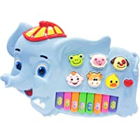 Popsugar Happy Eliphant Musical Piano with Music, Animal Sounds and Flashing Lights Toy for Kids, Blue